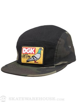 DGK Rucker Park 5 Panel Hat Black/Camo Adj.