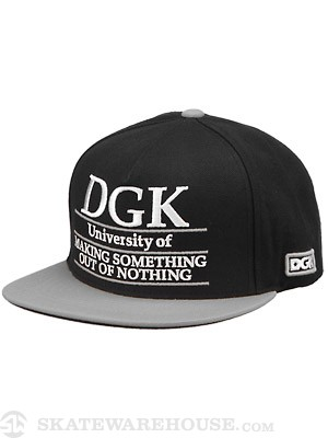 DGK University Snapback Hat Black/Silver Adj.