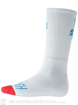 Deathwish Gang Logo Crew Socks Ice/Blue/Red