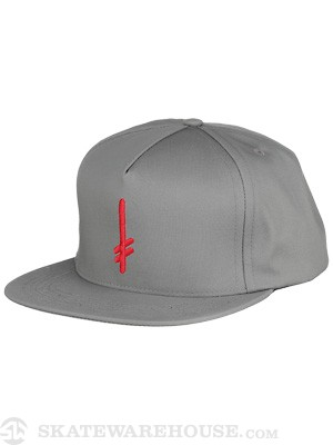 Deathwish Gang Logo Snapback Hat Grey/Red