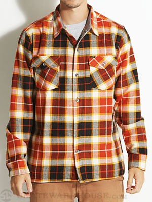 Enjoi Not Bad Plaid L/S Woven Shirt Orange SM