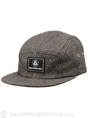 Down Under 5 Panel Hat Black Herringbone