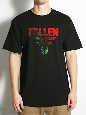Fallen Insignia Tee Blk/Red/Grn Acid MD