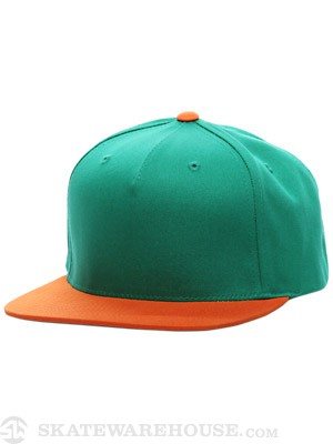 Fourstar Backside Snapback Hat Green/Orange Adj