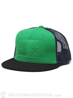 Fourstar Embossed Bar Hat Blk/Grn/Navy Adj