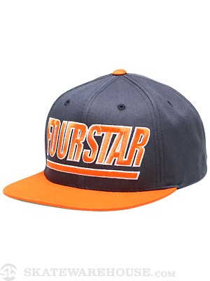 Fourstar Slant Starter Hat Navy / Orange Adj.