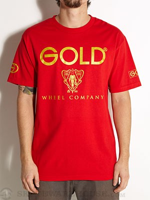 Gold Wheels Black Night Tee Red SM