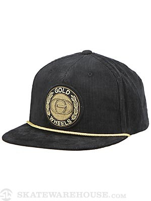 Gold Emblem Snapback Hat Black
