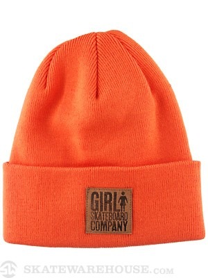 Girl Stamped Fold Beanie Orange One Size