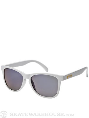 Glassy Deric Sunglasses  White/Blue Mirror