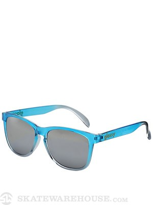 Glassy Deric Sunglasses  Transparent Blue/Silver Mirror