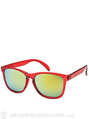 Glassy Deric Sunglasses  Red Clear/Gold Mirror