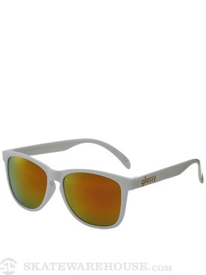Glassy Deric Sunglasses  White/Red Mirror