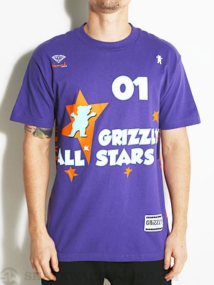 Grizzly All Stars Tee Purple MD