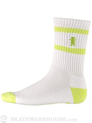 Grizzly Stamp High Cut Socks White/Lime