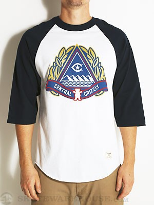 Grizzly x Central Raglan Tee White/Navy SM