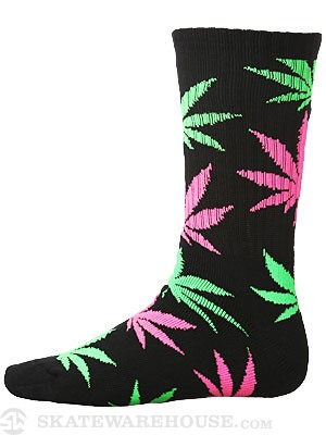 HUF Glow In The Dark Socks Black/Green/Pink