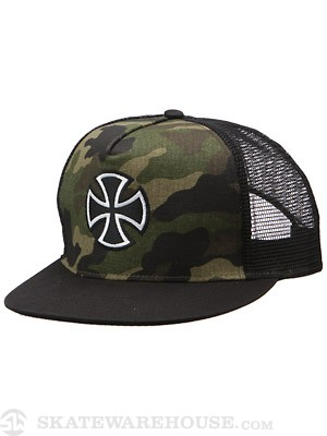 Independent Outline Cross Mesh Hat Camo/Black