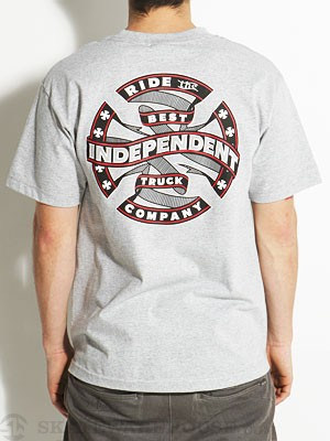 Independent Ribbon Cross Tee Athletic Heather SM