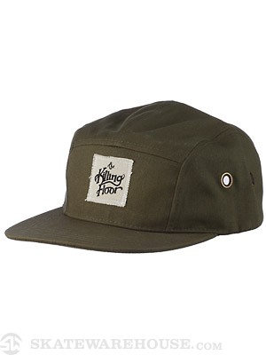TKF Logo Leather Strap 5 Panel Hat Olive