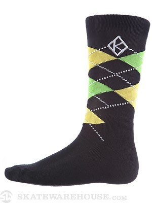 Krooked Argyle Socks Black/Yellow One Size