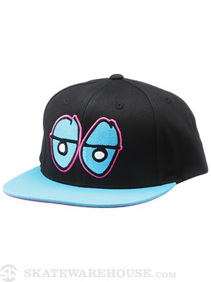 Krooked Eyes Snapback Hat Black/Blue Adjust