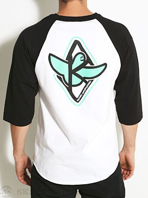 Kaged Bird 3/4 Sleeve Raglan White/Black LG