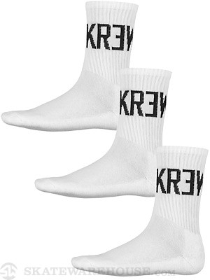 KR3W Crew 3 Pack Socks White