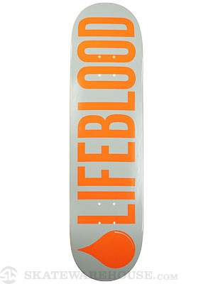 Lifeblood Logo Grey/Orange Deck  8.25 x 32