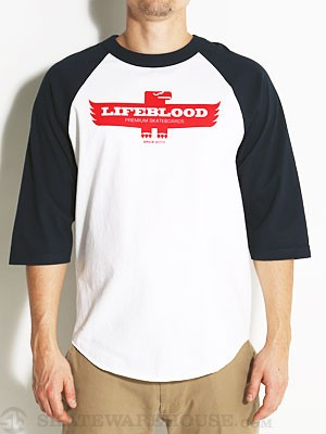 Lifeblood Thunderbird Raglan Tee White/Navy MD