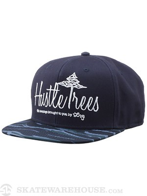 LRG Hustle Trees Tiger Camo Snapback Hat Navy