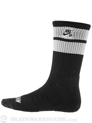 Nike SB Elite Skate Crew Socks Black/White LG