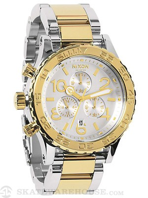 Nixon The 42-20 Chrono Watch  Silver/Chamgane Gold