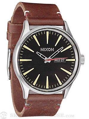 Nixon The Sentry Leather Watch  Black/Brown