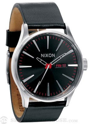 Nixon The Sentry Leather Watch Black