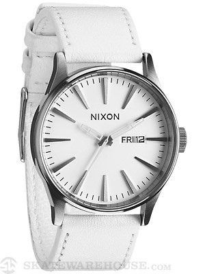 Nixon The Sentry Leather Watch  Silver/White