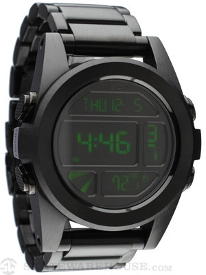 Nixon The Unit SS Watch  All Black/Green