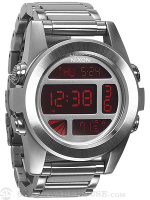 Nixon The Unit SS Watch  Silver/Red