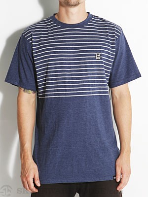 Organika Score Stripe Knit Shirt Blue Heather SM