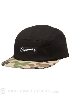 Organika Animal Camo 5 Panel Hat Black/Camo