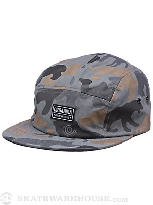 Organika Animal Camo 5 Panel Hat Charcoal Adj.