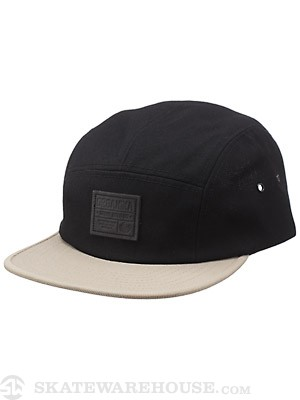 Organika Badge 5 Panel Hat Black/Khaki Adjust
