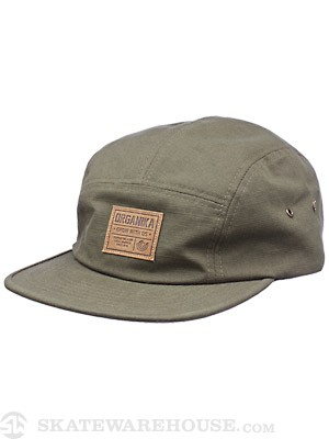 Organika Badge 5 Panel Hat Olive Adjust