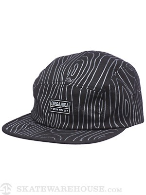 Organika Tree Camo 5 Panel Hat Black Adj.