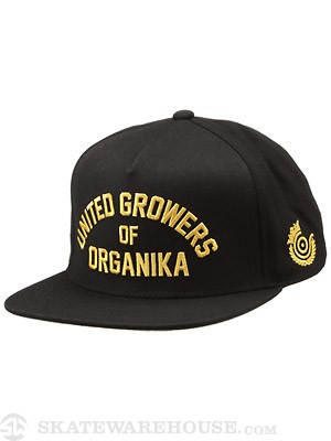 Organika United Growers Strapback Hat Black Adj