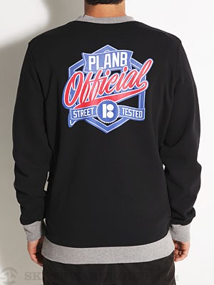 Plan B Letterman Crew Sweatshirt Black MD