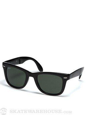 Ray Ban Folding Wayfarer  Black/Crys Green Lens/G-15XLT
