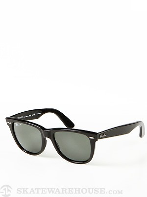 Ray Ban Original Wayfarer  Black/Polar Green Lens/54mm