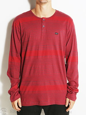 RVCA Hipe Stripe L/S Henley Shirt Red SM