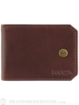 RVCA Moog Bi Fold Leather Wallet Chocolate/DKC